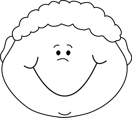 Black and White Little Boy Happy Cartoon Face Clip Art ...