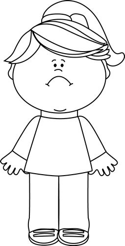 Sad Girl Clip Art Image - black and white outline of a little girl    Sad Little Girl Clipart