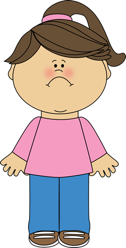 Sad Girl Clip Art Image - little girl with a frown on her face wearing    Sad Little Girl Clipart
