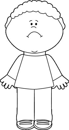 Black and White Sad Little Boy
