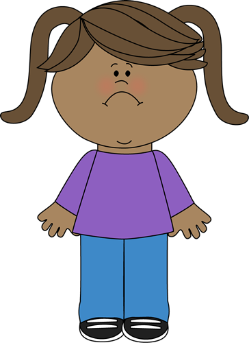 Sad Little Girl Clip Art Image - little girl with a frown on her face Sad Little Girl Clipart