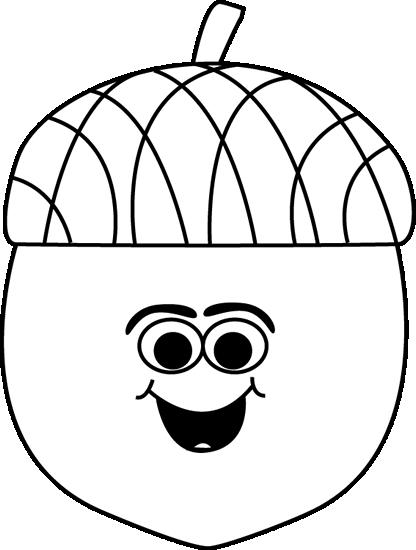Cartoon Acorn Black and White