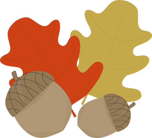 Acorn and Leaves Clip Art