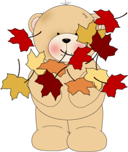 Bear Tossing Leaves Clip Art
