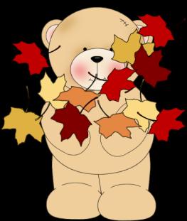 Bear Tossing Leaves Clip Art