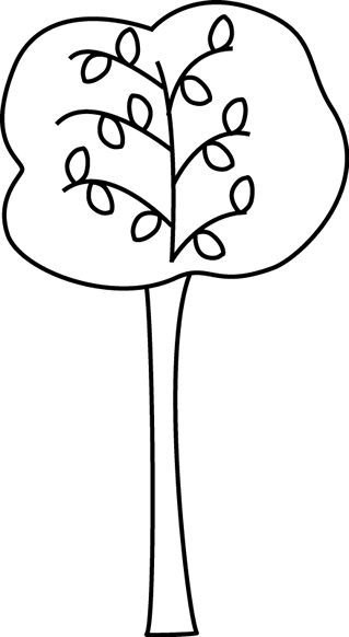 Black and White Autumn Tree Clip Art