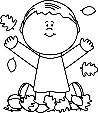 Black and White Boy Playing in Leaves Clip Art - Black and ...