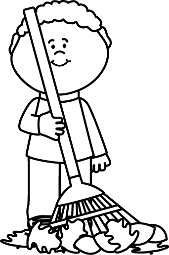 black and white boy raking autumng leaves clip art black and white