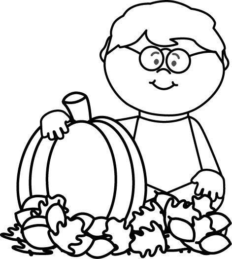 Black and White Black and White Boy Sitting in Leaves with Pumpkin