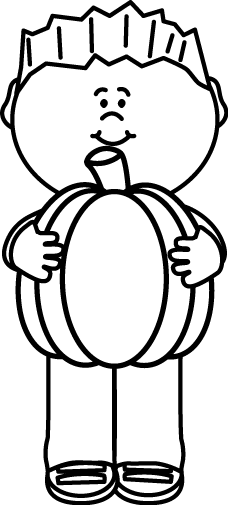 Black and White Kid Holding a Pumpkin