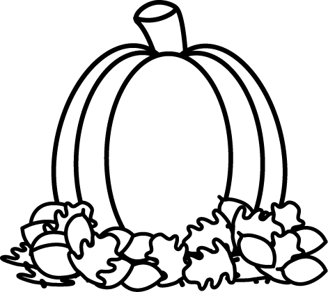 black and white pumpkin in autumn leaves clip art black and white