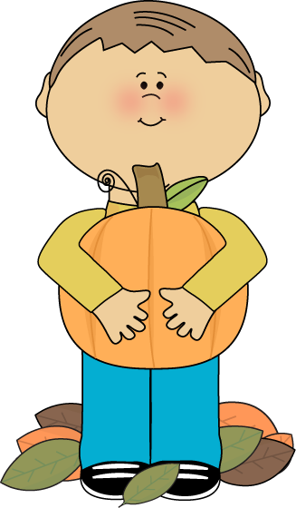 Boy Holding a Pumpkin Clip Art