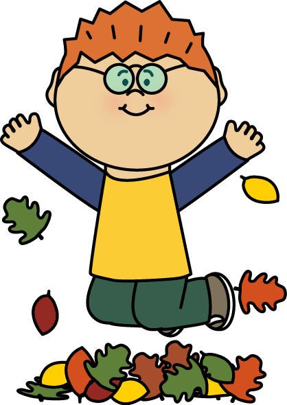Boy Jumping in Leaves Clip Art