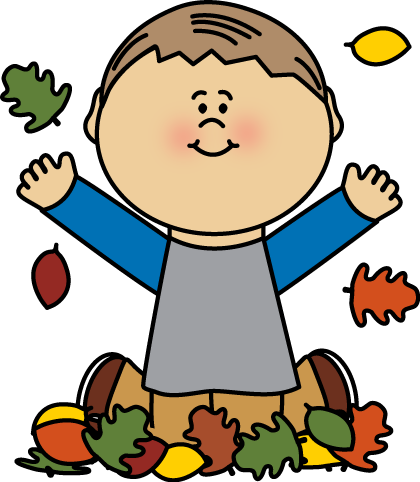 Boy Playing in Autumn Leaves Clip Art