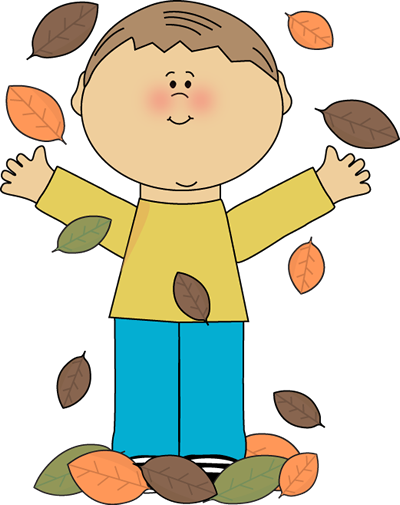 Boy Playing in Leaves Clip Art