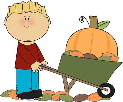 Boy Pushing Pumpkin in a Wheelbarrow