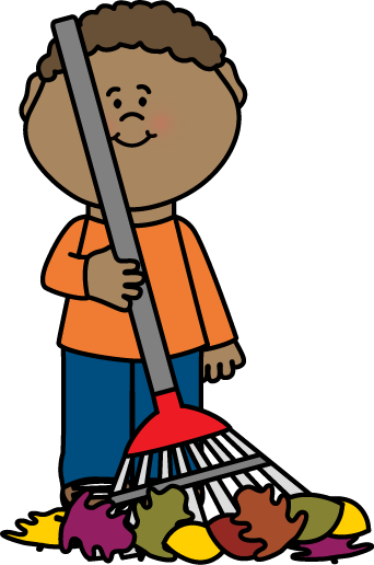 Boy Raking Autumn Leaves Clip Art