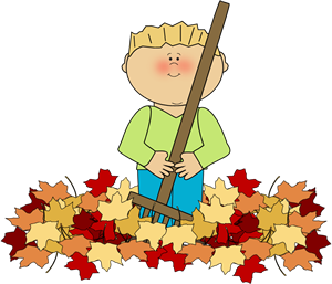 Boy Raking Leaves Clip Art