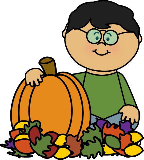 Boy Sitting in Leaves with Pumpkin Clip Art