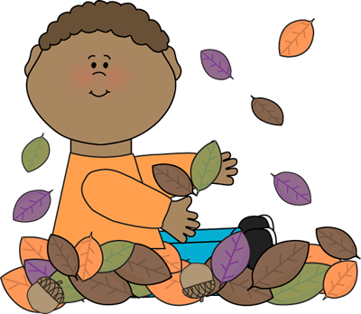 Boy Sitting in Leaves Clip Art