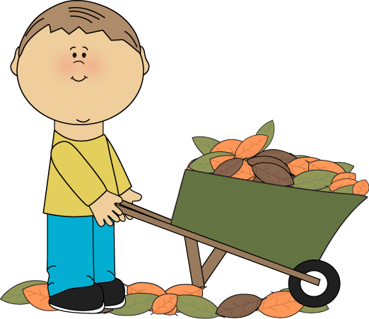 Boy with a Wheelbarrow Full of Fall Leaves Clip Art