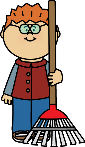 Boy with a Rake Clip Art