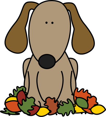 Dog Sitting in Leaves Clip Art