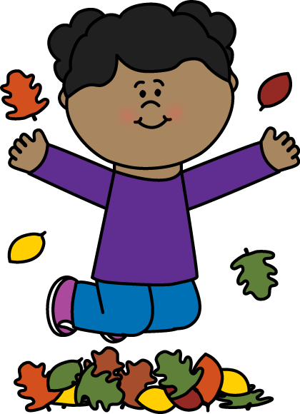 Girl Jumping in Leaves Clip Art