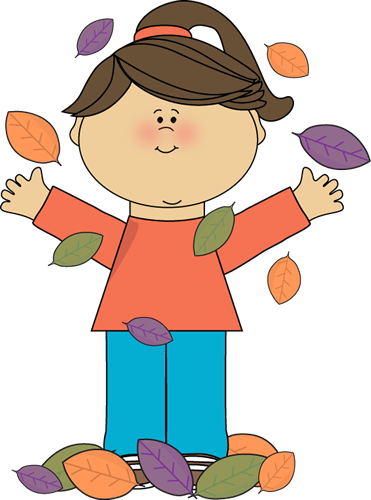 Girl Playing in Autumn Leaves Clip Art