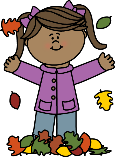 Girl Playing in Leaves Clip Art
