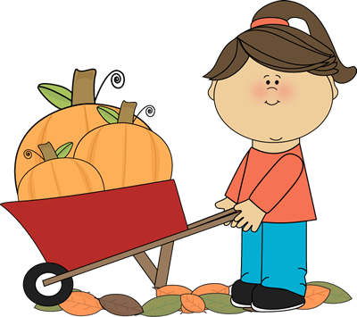 Girl Pushing Wheelbarrow Full of Pumpkins Clip Art