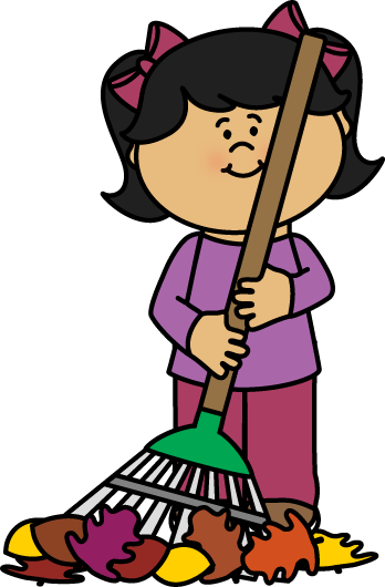 Girl Raking Fall Leaves Clip Art