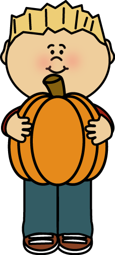 Kid Holding a Pumpkin Clip Art