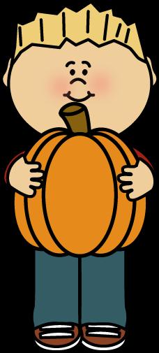 Kid Holding a Pumpkin Clip Art