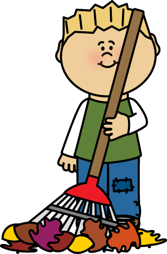 Kid Raking Leaves Clip Art