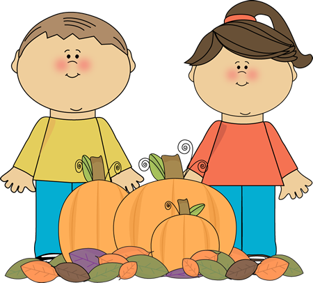 Kids with Fall Pumpkins Clip Art