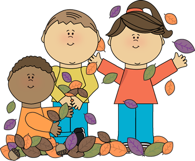 Kids Playing in Leaves Clip Art