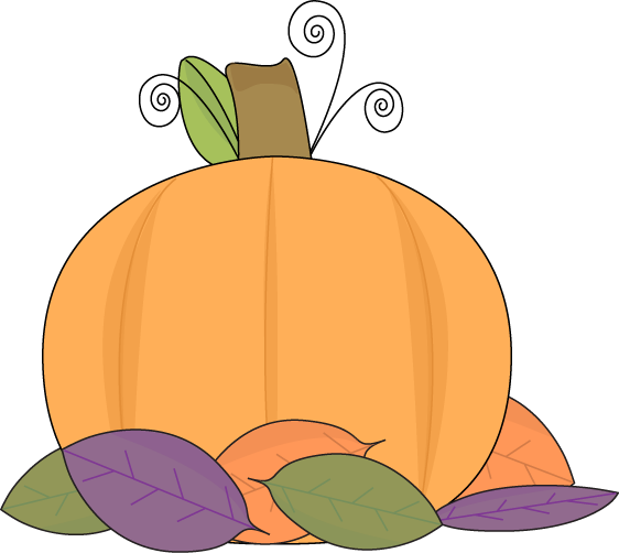 Pumpkin and Autumn Leaves Clip Art