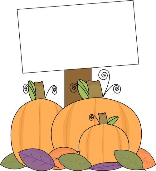 Pumpkin with a Blank Sign Clip Art