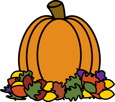 Pumpkin in Autumn Leaves Clip Art