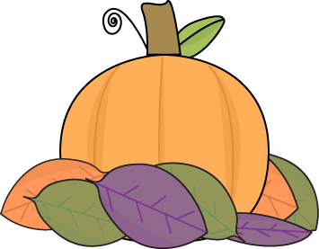 Small Pumpkin with Autumn Leaves Clip Art - Small Pumpkin with ...