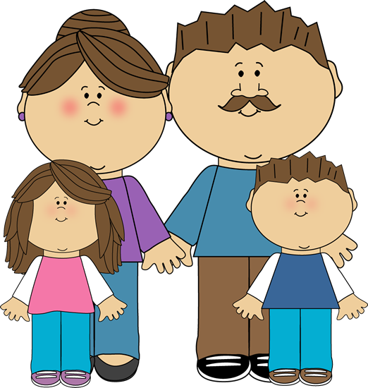 parents and children clip art image