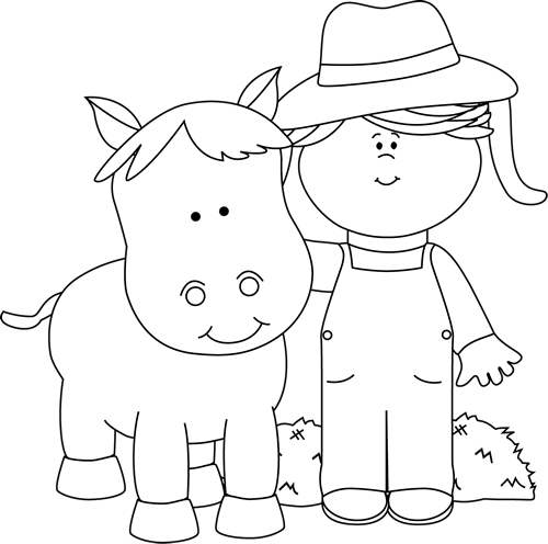 Black and White Farm Girl with a Horse Clip Art - Black ...