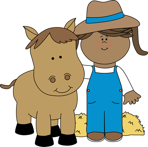 Farm Girl with a Horse Clip Art - Farm Girl with a Horse Image