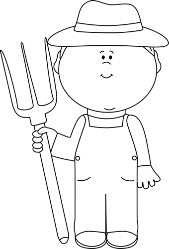 Black and White Farmer Boy Clip Art - Black and White ...