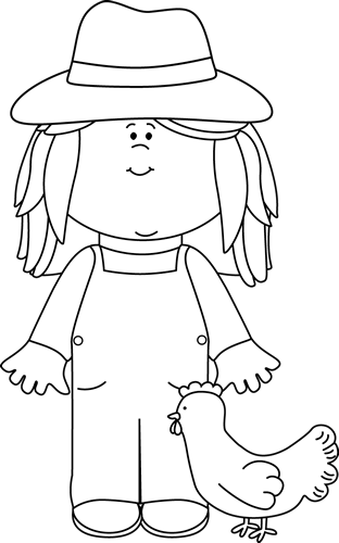 Black and White Girl Farmer Clip Art - Black and White ...