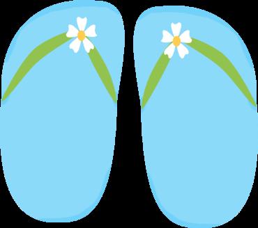 Blue Floral Flip Flops
