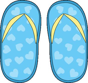 Blue Heart Pattern Flip Flops Clip Art