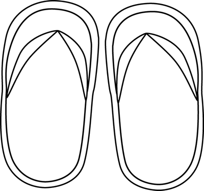 Black and White Flip Flops Clip Art