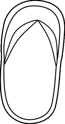 Black and White Flip Flop Clip Art